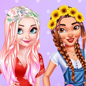 Princesses Colorful Braids And Pedicure